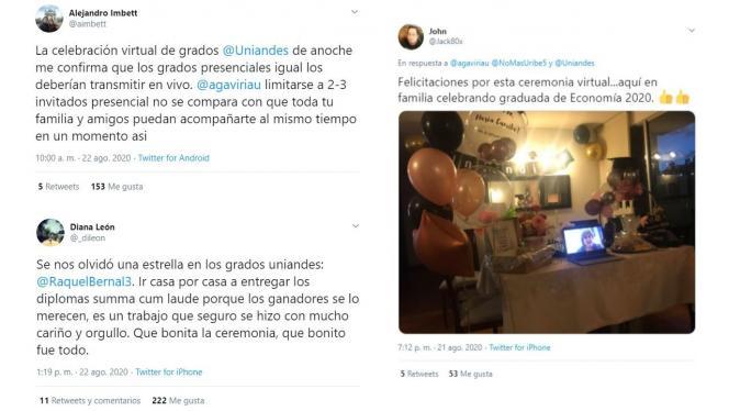 Mensajes en redes sociales sobre los primeros grados virtuales de Uniandes