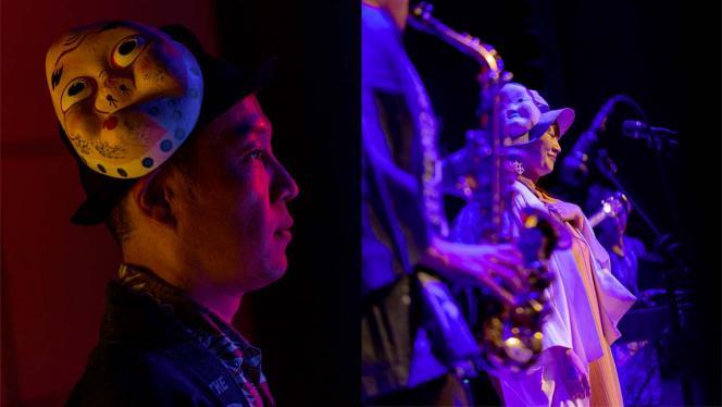 Imagen de músicos del Japón en tarima