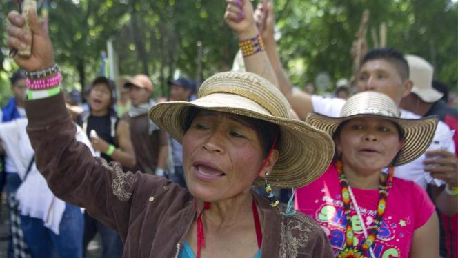 Dos mujeres indigenas en una marcha