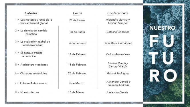Imagen de cronograma de cátedras sobre el cambio climático en Los Andes
