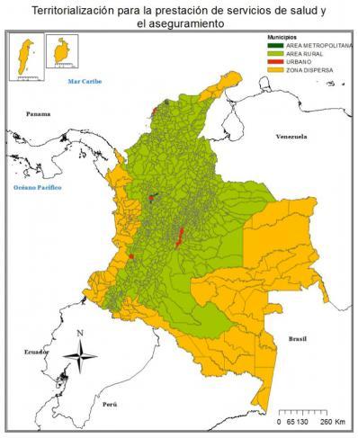 Mapa de la territorialización para la presentación de servicios de salud