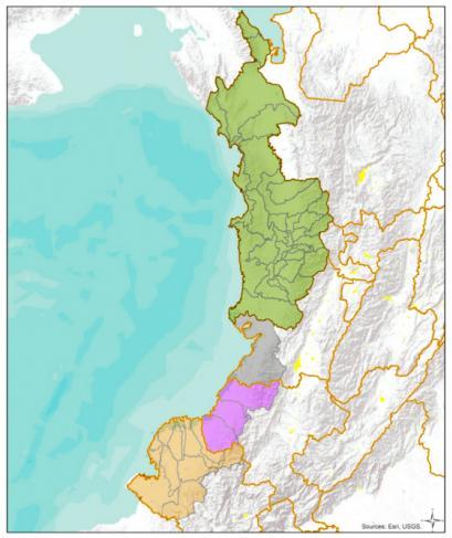 Mapa del Pacífico colombiano realizado por la Defensoría del Pueblo