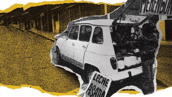 Ilustración de un carro vendiendo leche asada