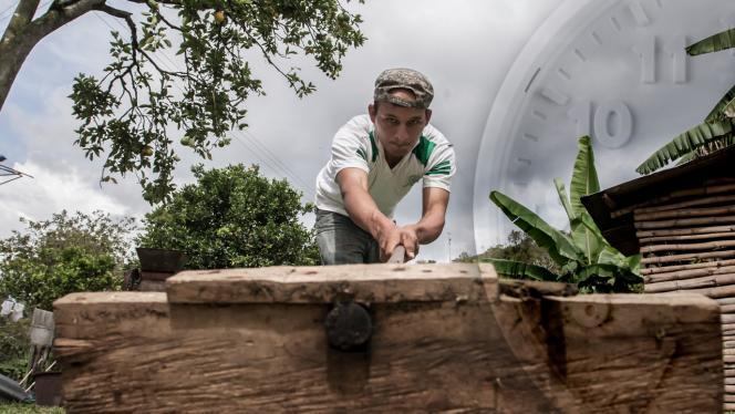 Hombre cortando un tronco de madera