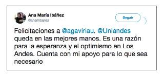 Imagen de un tuit de Ana María Ibáñez