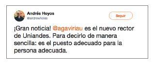 Imagen de un tuit de Andrés Hoyos