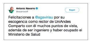 Imagen de un tuit de Antonio Navarro