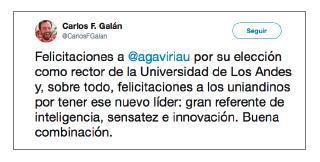 Imagen de un tuit de Carlos F. Galán