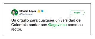 Imagen de un tuit de Claudia López