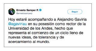 Imagen de un tuit de Ernesto Samper