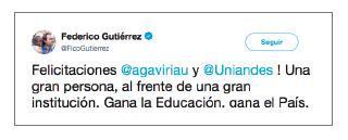 Imagen de un tuit de Federico Gutiérrez
