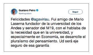 Imagen de un tuit de Gustavo Petro