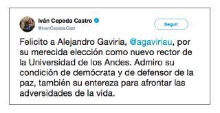 Imagen de un tuit de Iván Cepeda Castro