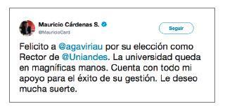 Imagen de un tuit de Mauricio Cárdenas