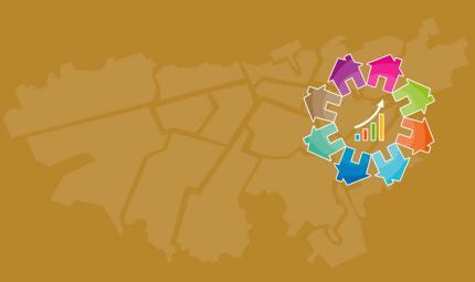 Dibujo de un mapa de Bogotá, al lado derecho vemos un logo hecho con dibujos de casas de colores