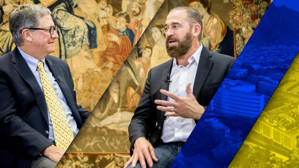 Imagen de Pablo Navas, rector de Los Andes, y José Escamilla, del Tecnológico de Monterrey, hablando