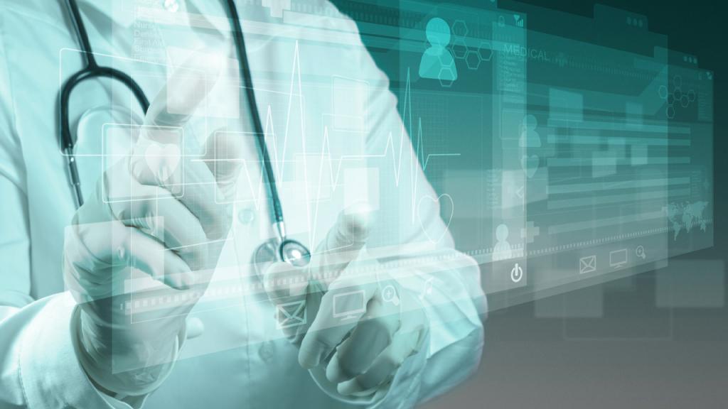 Graficación de un médico que se ve a través de un reflejo de pantalla