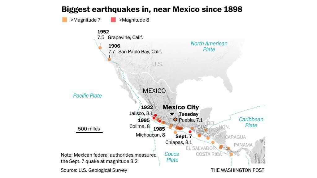 Los mayores terremotos cerca de México desde 1898
