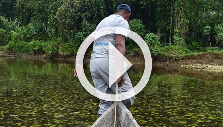 Hombre jala una balsa, a través del agua.