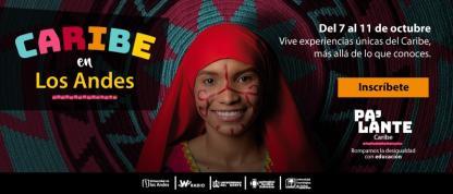 Imagen promocional de mujer wayú acompañada de título Caribe en los Andes