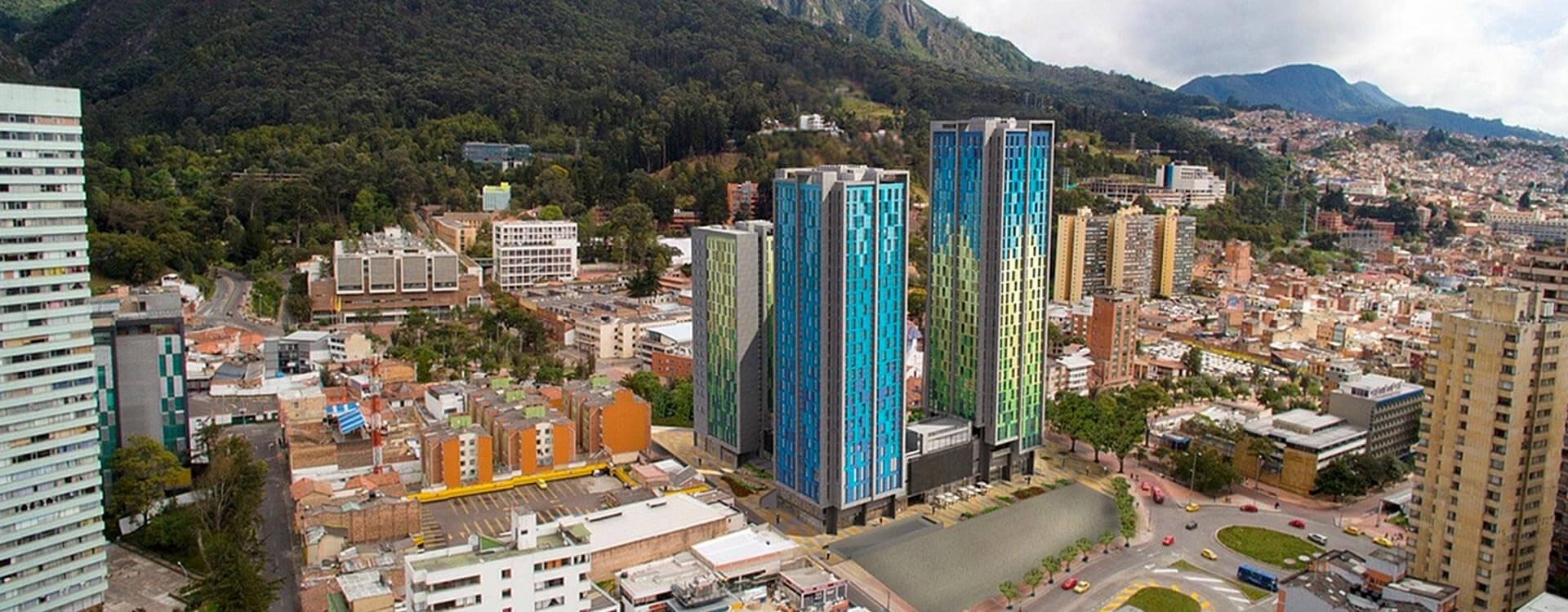 Vista aérea de la Torre Séneca, vivienda universitaria