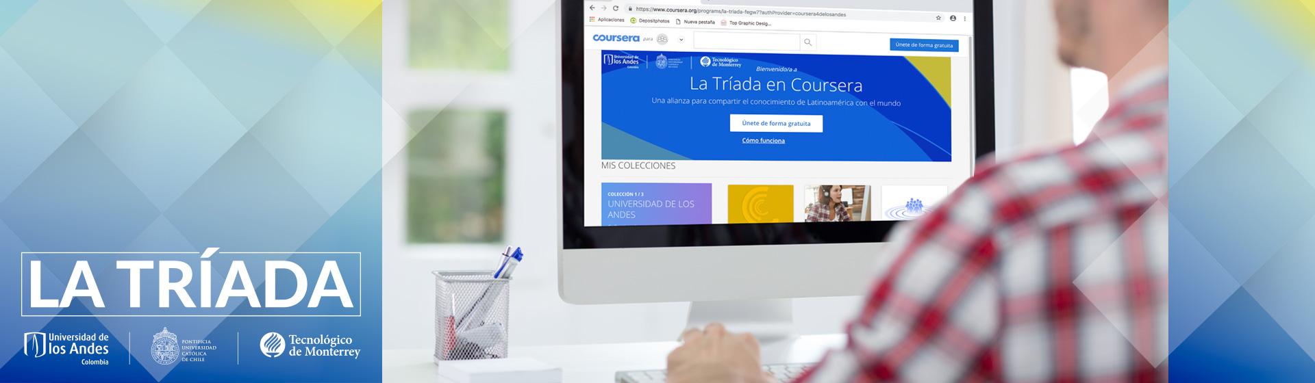 Imagen de un joven viendo el portal de La Tríada en Coursera for Partners