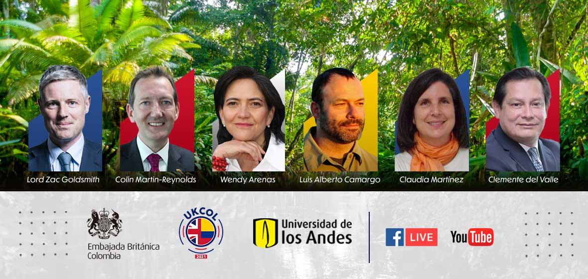 Panelistas evento de cooperación del Reino Unido para el cambio climático