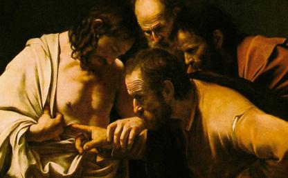 El cuadro La incredulidad de santo Tomás, de Caravaggio, fue elegido para la portada del libro.