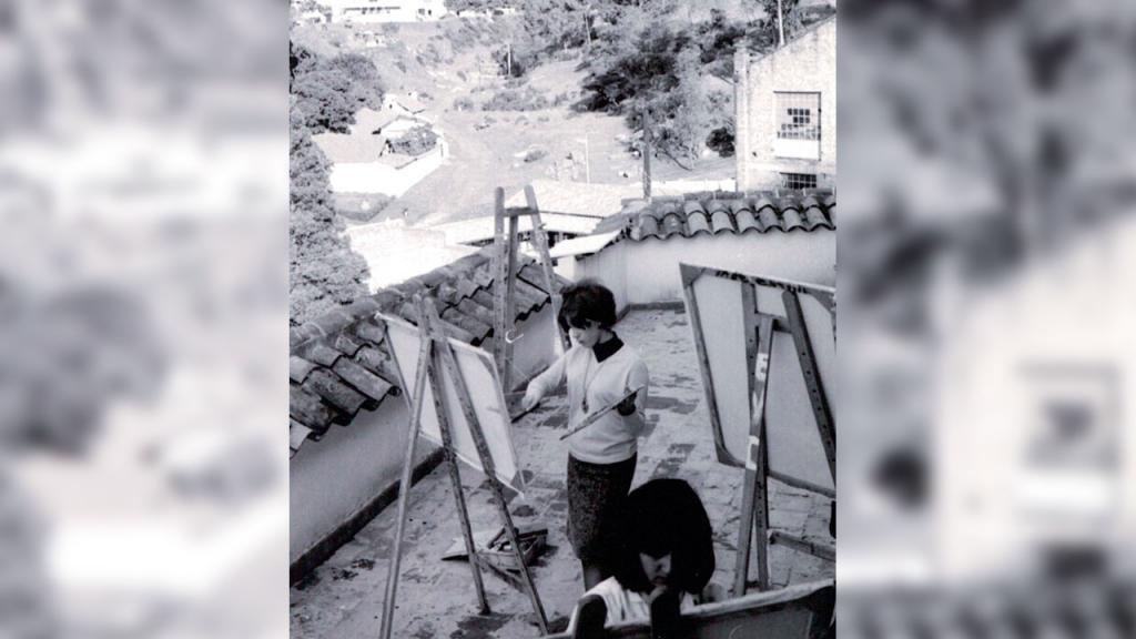 Clases de pintura en el Campito de San José. Años 60. Universidad de los Andes.