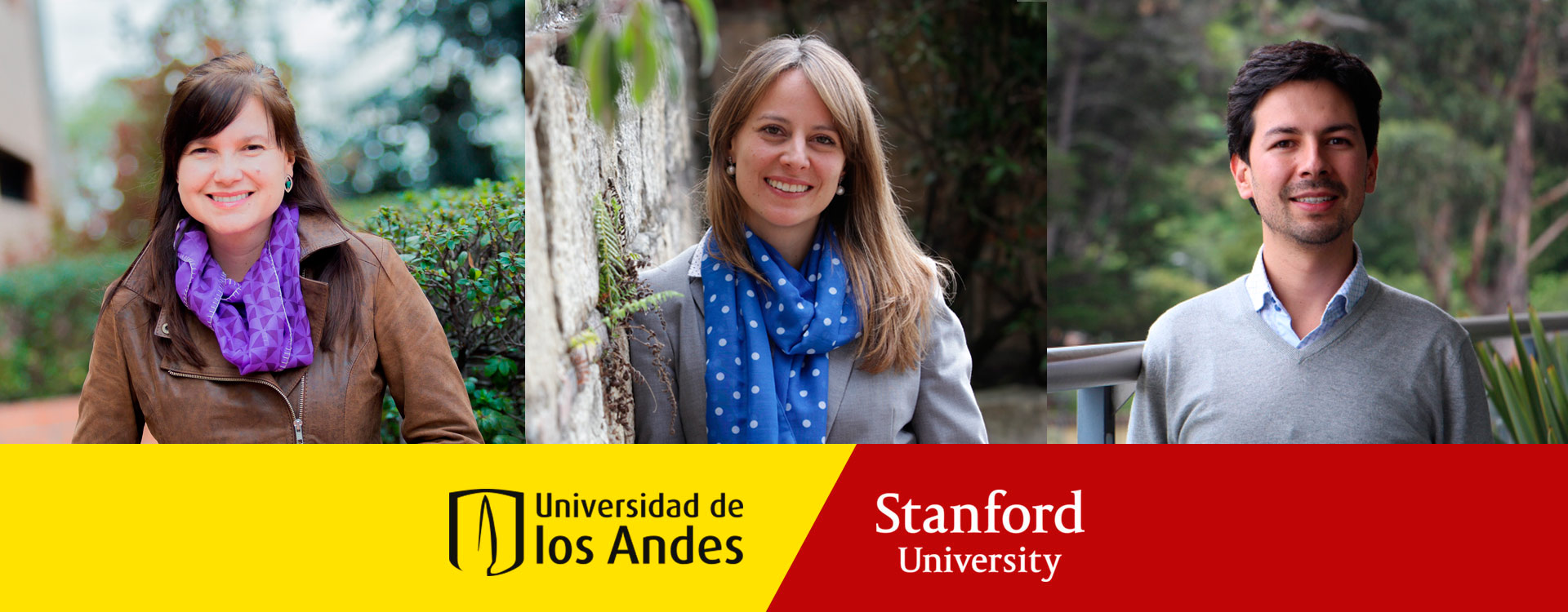 Two women and a man with emblems of Universidad de los Andes and Stanford University.