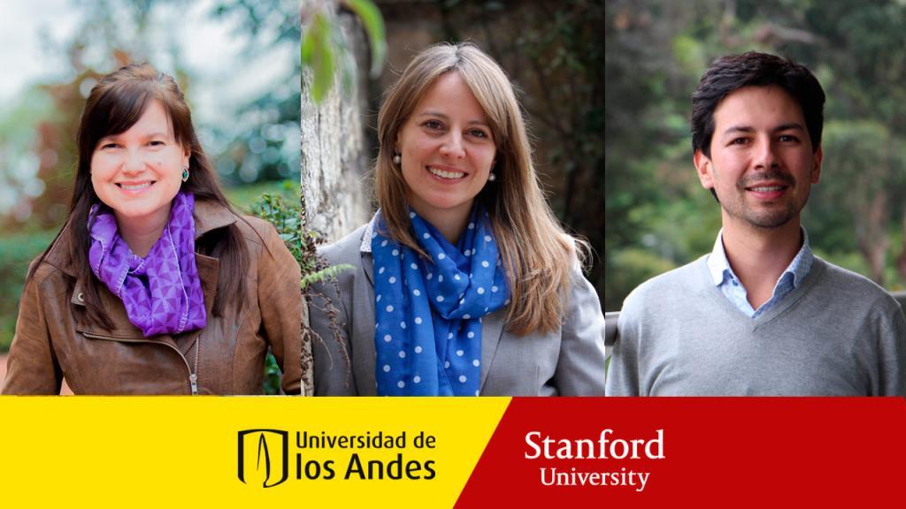 Dos mujeres y un hombre, con logos de la Universidad de los Andes y de la Universidad de Stanford.