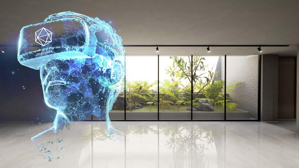 Imagen 3D con un cabeza usando gafas de realidad virtual