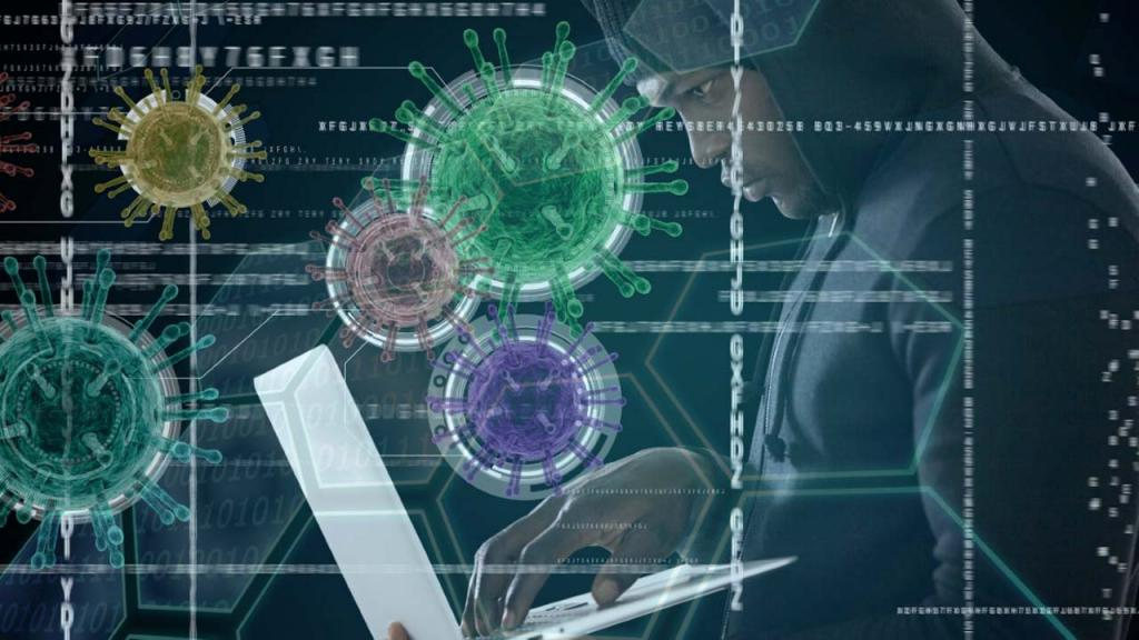 Hombre digitando en un portátil con imágenes del virus covid Eduardo Behrentz