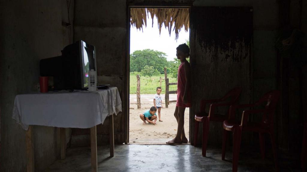 Interior de una casa. Un niño asomado a la puerta, de fondo otros niños.