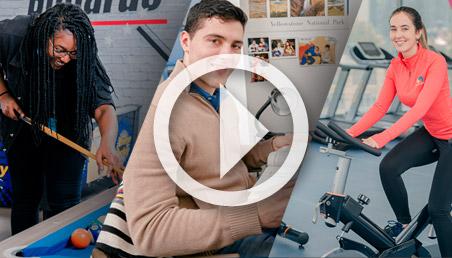 Una mujer juega billar, otra esta en el gimnasio y un hombre sentado